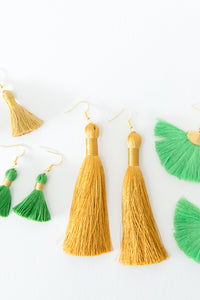 "THE CALI 1-1/4"" green tassel earrings"