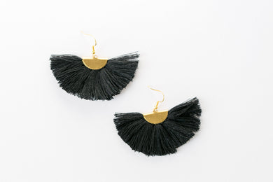 THE RHONDA fan black tassel earrings #tasseleverything