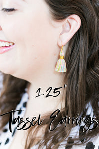 "THE VIRGINIA 1-1/4"" white tassel earrings"