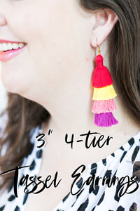 THE ALINDA PEACH, PURPLE, CITRON + NAVY OMBRÉ 4-tier tassel earrings