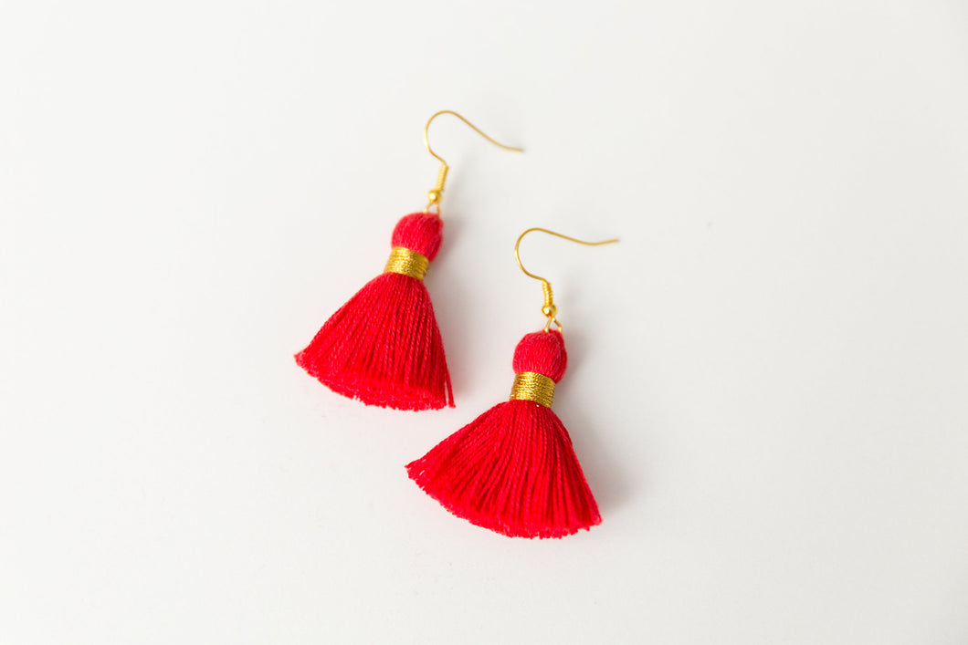 "THE BRE 1-1/4"" RED tassel earrings"
