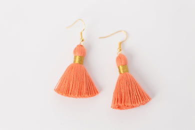 "THE ERIN 1-1/4"" CORAL tassel earrings"