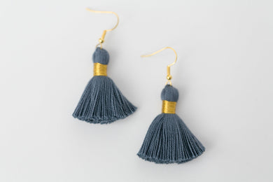 "THE MELISSA 1-1/4"" DENIM tassel earrings"