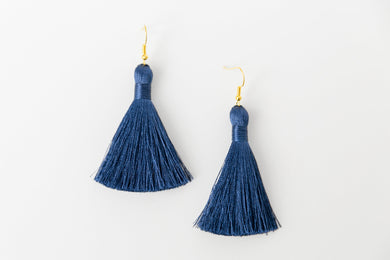 "THE NOEL 2"" DENIM silky tassel earrings"
