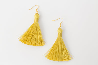 "THE KAREN 2"" golden CITRINE silky tassel earrings"