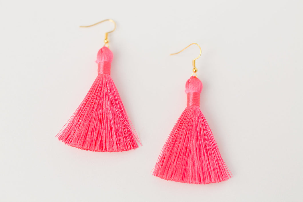 "THE OLIVIA 2"" neon PINK silky tassel earrings"