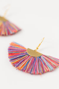 THE JULIAH fan RAINBOW tassel earrings