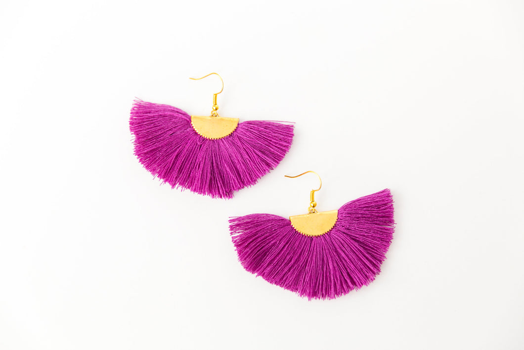 THE NATALY fan bright PURPLE tassel earrings