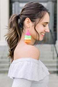 "THE PEYTON 3"" neon tassel earrings"