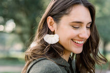Load image into Gallery viewer, THE REAGAN WHITE tassel earrings