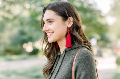 "THE DENISE 3.5"" bright red silky tassel earrings"