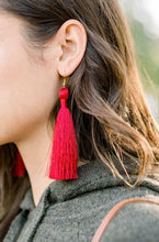 "Load image into Gallery viewer, THE DENISE 3.5"" bright red silky tassel earrings"