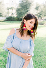 "Load image into Gallery viewer, THE AMBER 3"" red, yellow, pink and purple tassel earrings"
