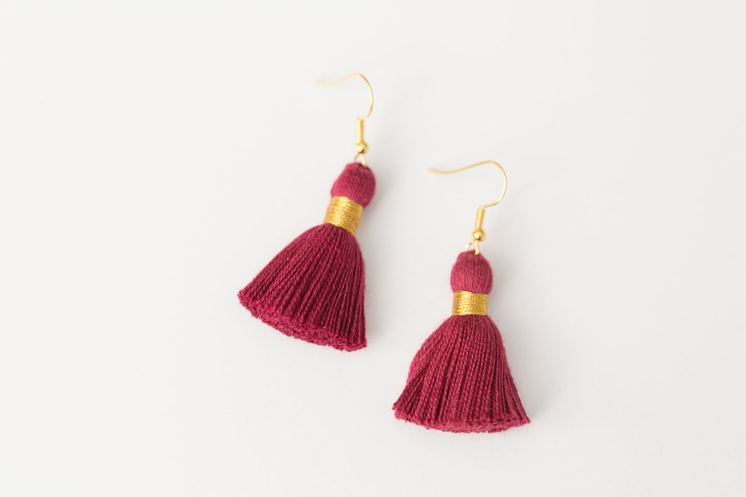 "THE BECKA 1-1/4"" MAROON tassel earrings"