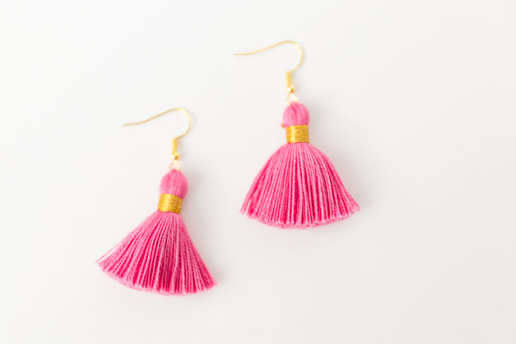 "THE SHILOH 1-1/4"" hot PINK tassel earrings"