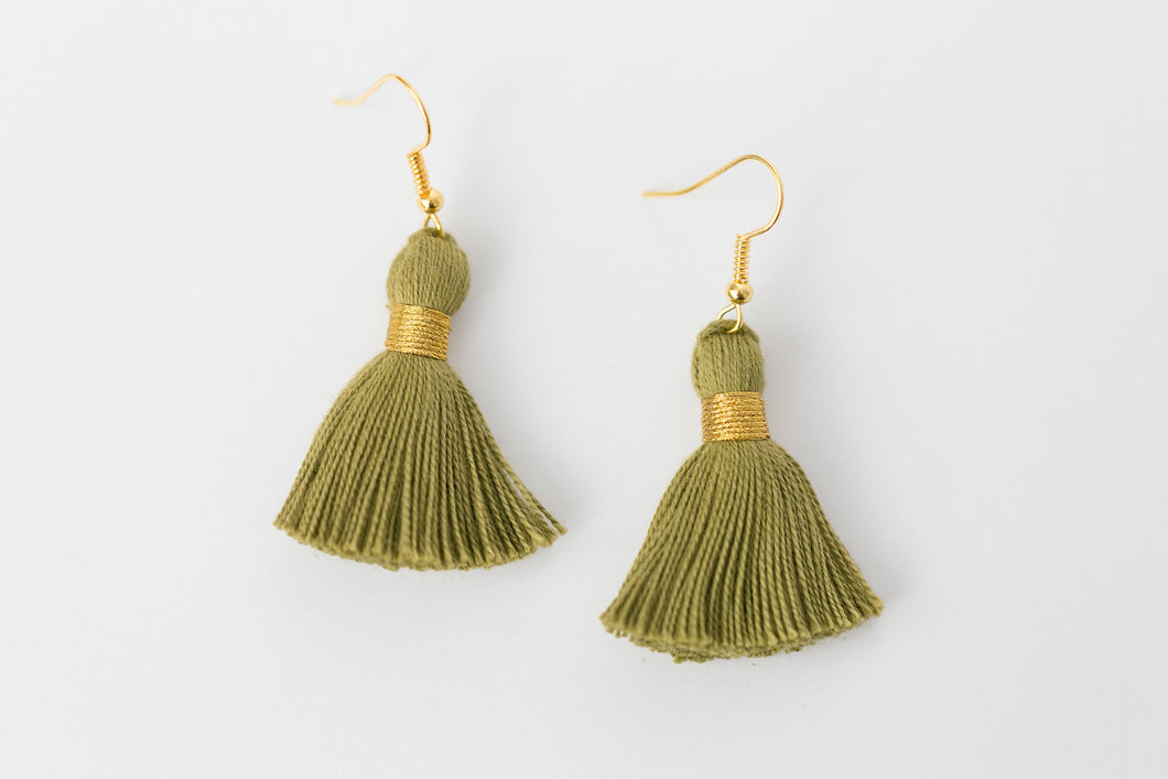 "THE MARISSA 1-1/4"" OLIVE tassel earrings"