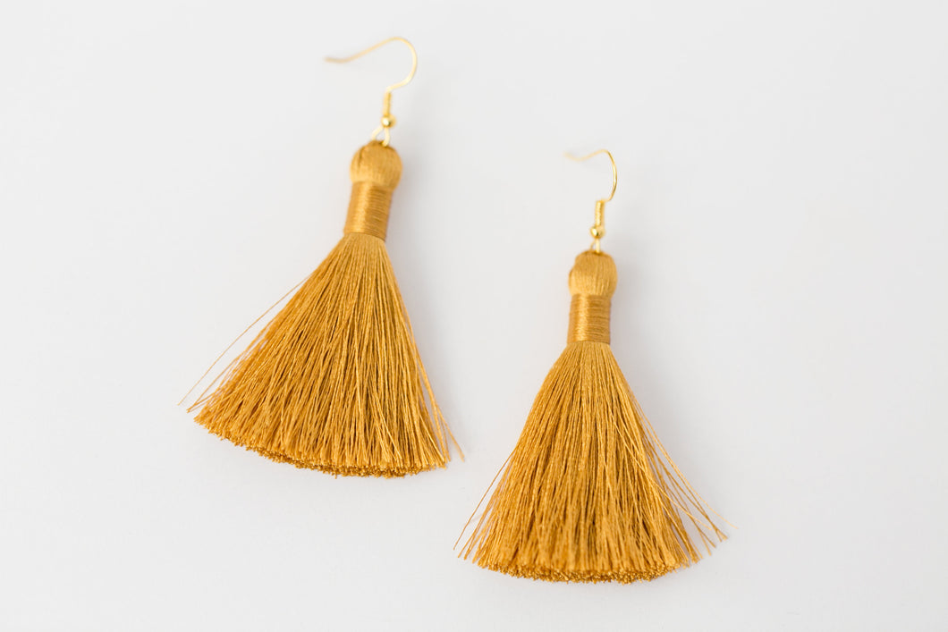 "THE ANASTASIA 2"" GOLD silky tassel earrings"