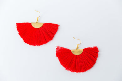 THE ROSE fan RED tassel earrings
