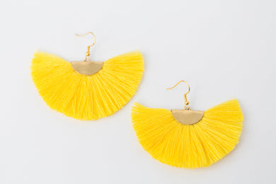 THE ERIKA fan YELLOW tassel earrings