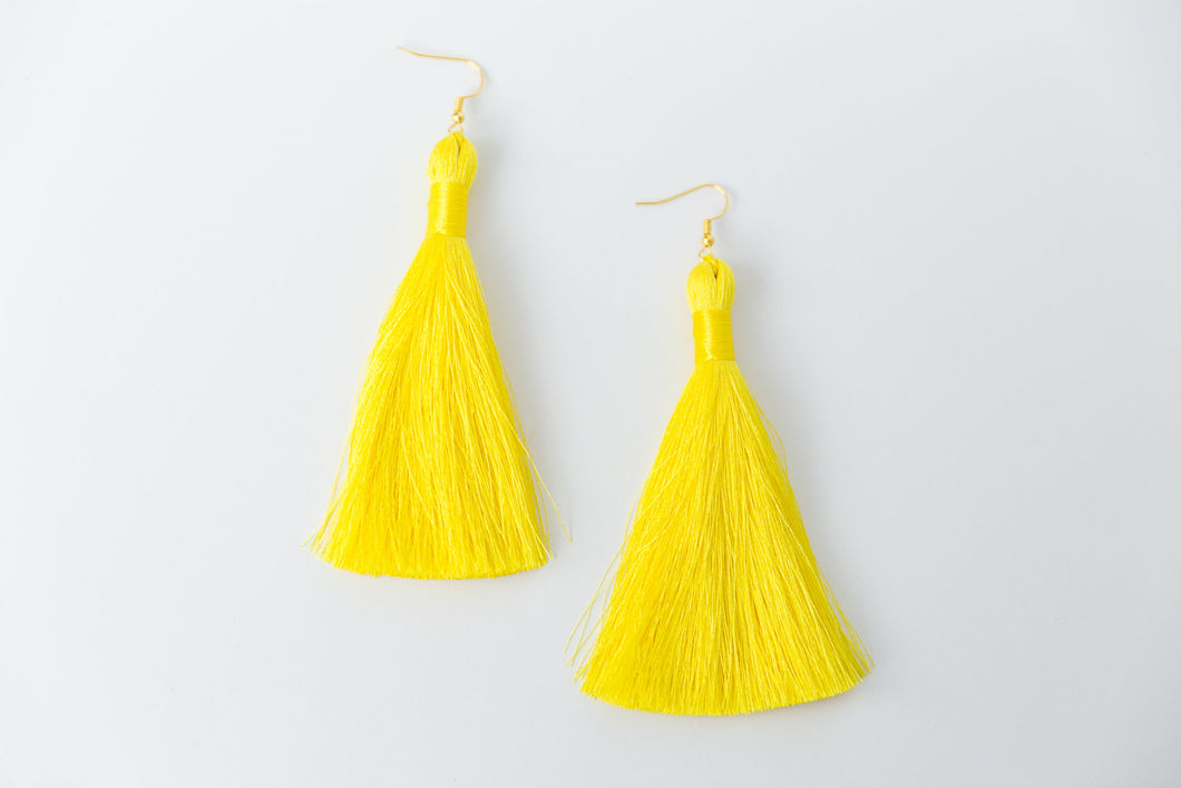 "THE PATRICIA 3.5"" bright YELLOW silky tassel earrings"