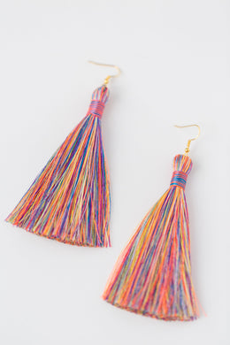 "THE MARY 3.5"" RAINBOW silky tassel earrings"