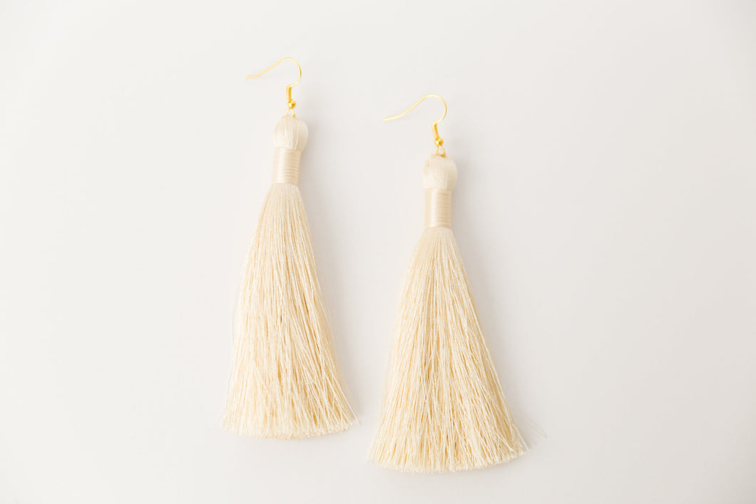 "THE DESIREE 3.5"" CREAM silky tassel earrings"