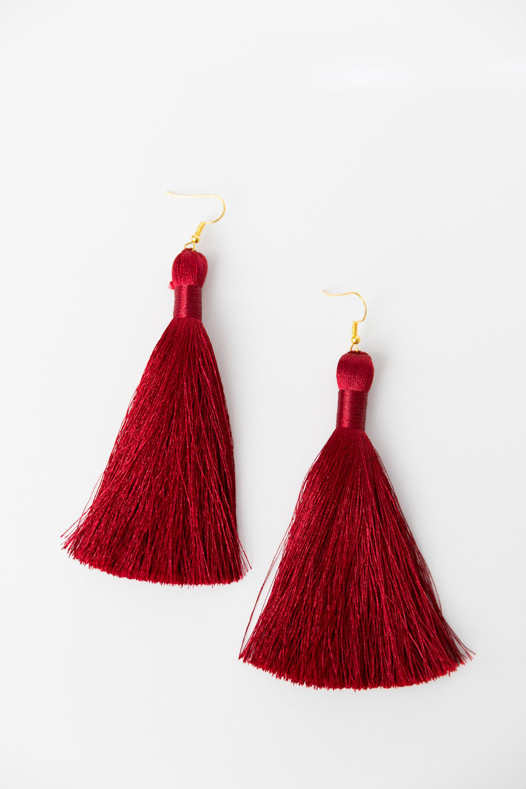 "THE FLORENCE 3.5"" HOLLY berry deep red silky tassel earrings"