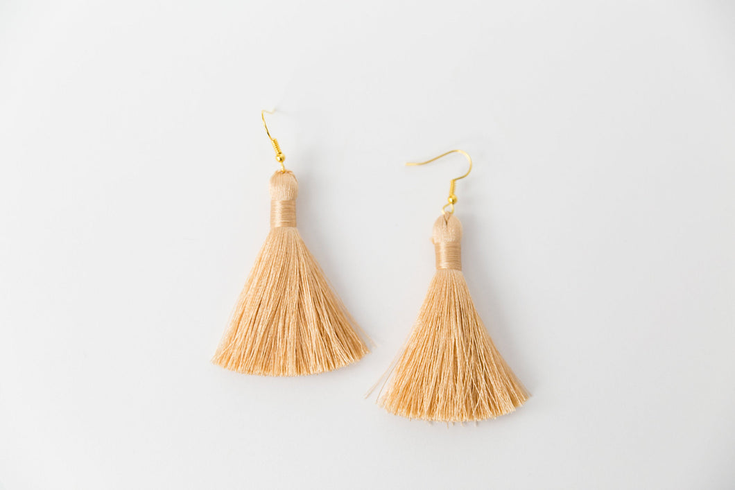 "THE ALYSSA 2"" CHAMPAGNE silky tassel earrings"