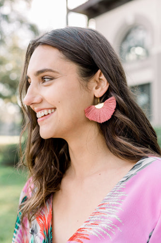 THE KELSI fan mauve tassel earrings