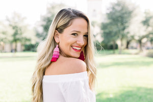 "THE CORINNE 3"" pink ombre tassel earrings"