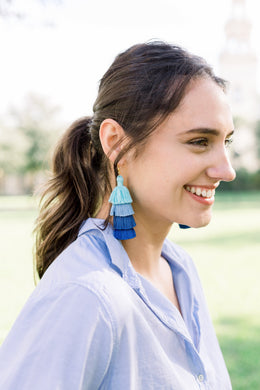 "THE STACEY 3"" blue ombré tassel earrings"