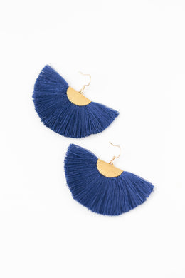 THE ADELLE NAVY fan tassel earrings
