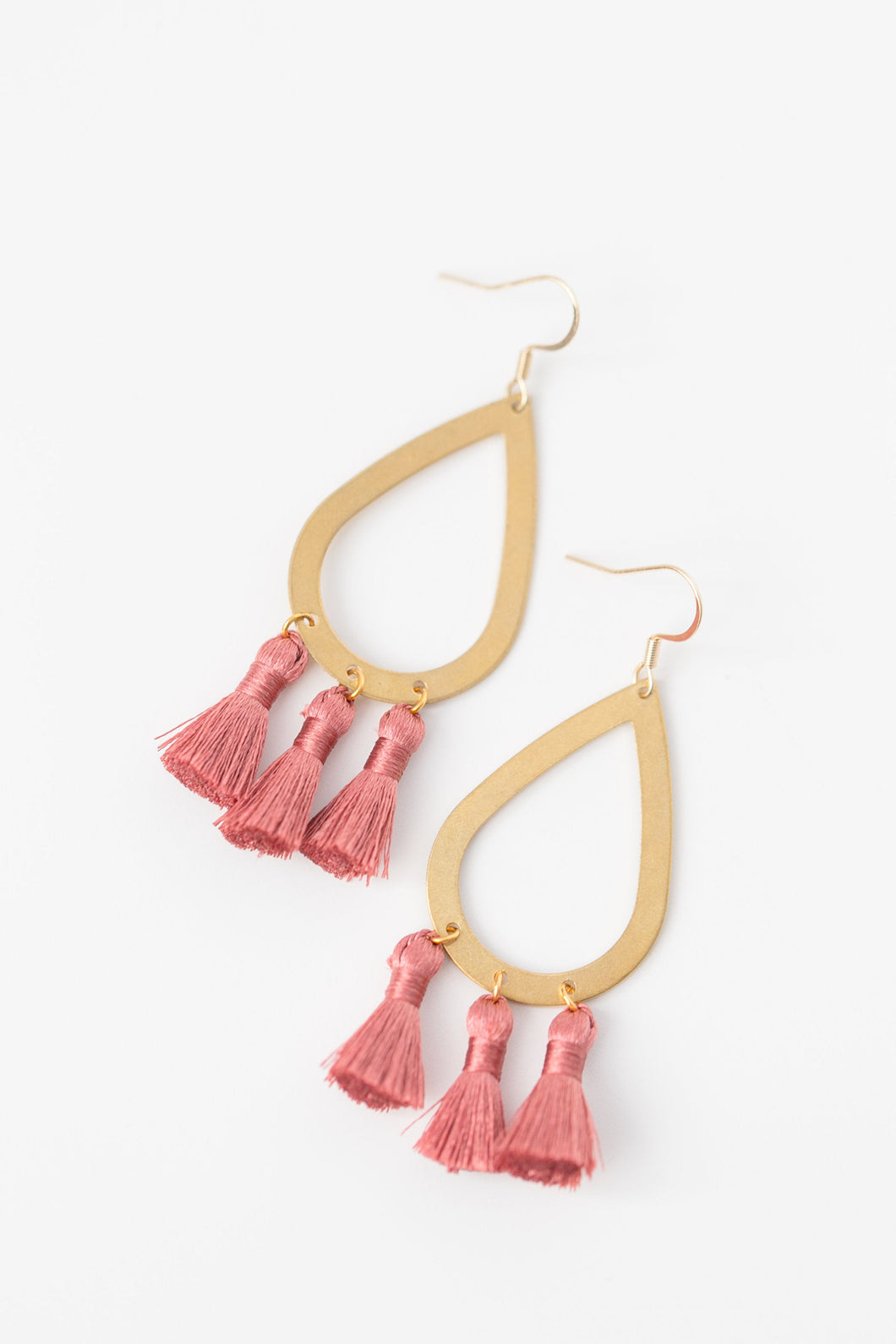 THE SAMARA brass + tassel earrings