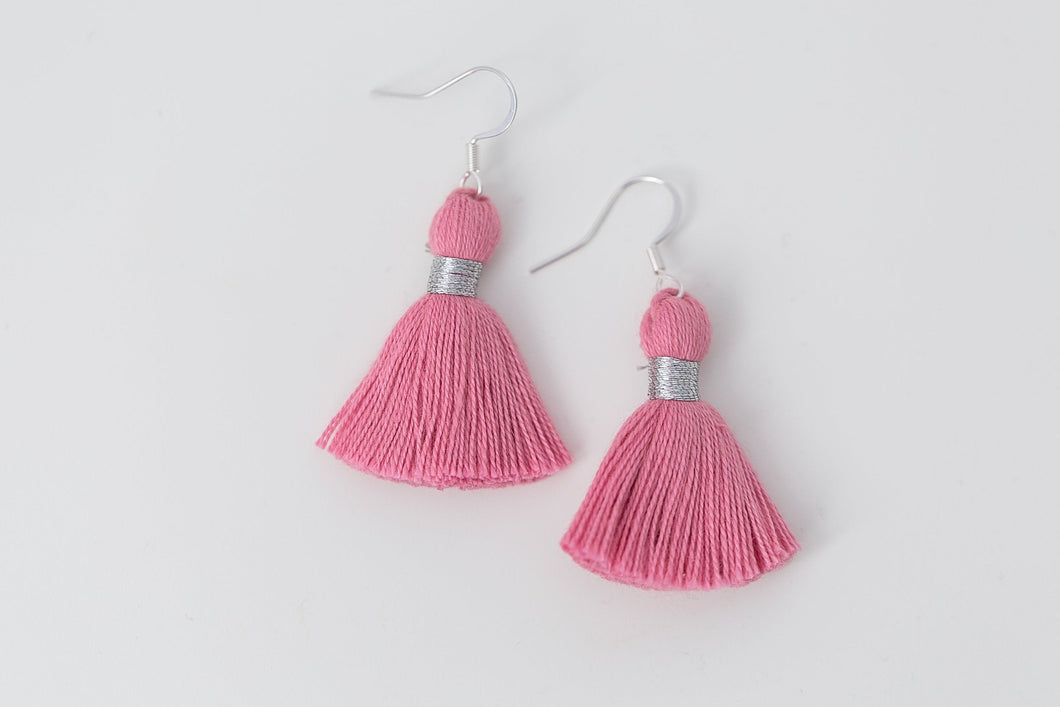 "THE ALLIE SILVER 1-1/4"" pink tassel earrings"