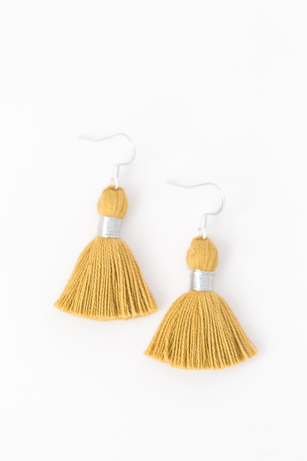 "THE AVERY SILVER 1-1/4"" gold tassel earrings"