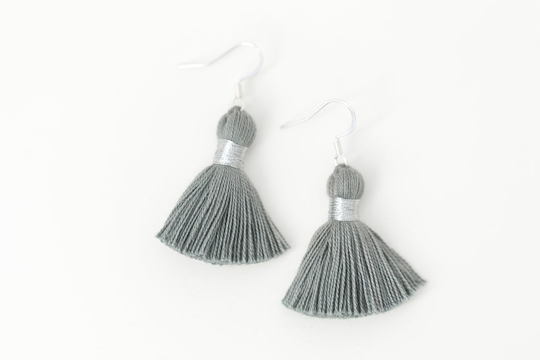 "THE NOELLA 1-1/4"" GREY silver tassel earrings"