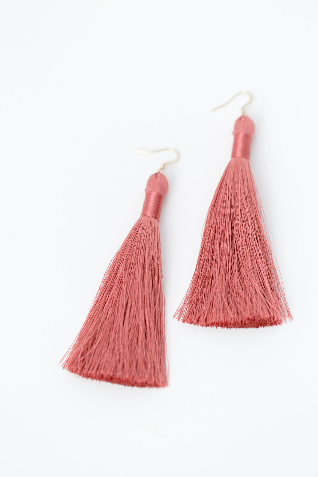 "THE AMANDA 3.5"" MAUVE silky tassel earrings"
