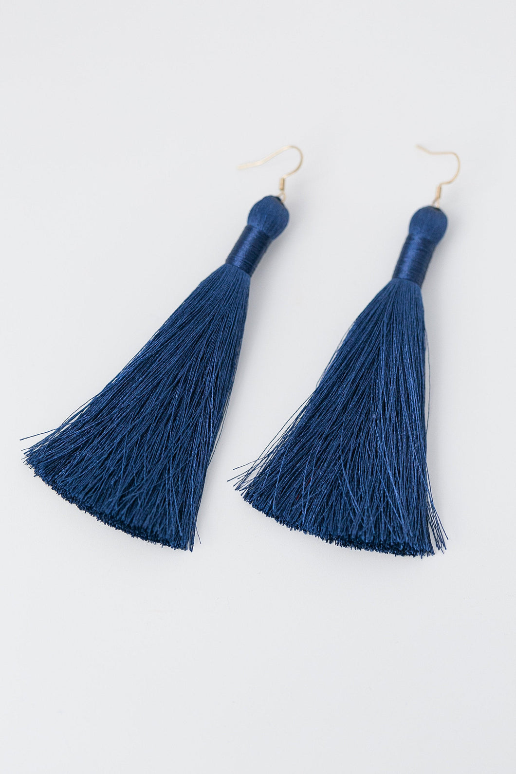 "THE MEGAN 3.5"" NAVY silky tassel earrings"