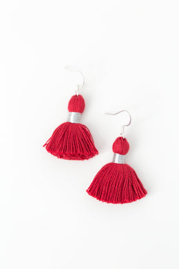 "THE EMILIA 1-1/4"" deep red silver tassel earrings"