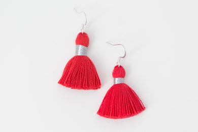 "THE BRE 1-1/4"" red silver tassel earrings"
