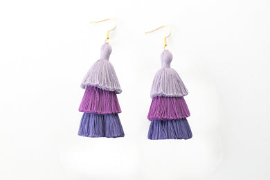 THE JENNA purple shade 3-TIER tassel earrings. Cystic Fibrosis Awareness. Cystic Fibrosis Foundation