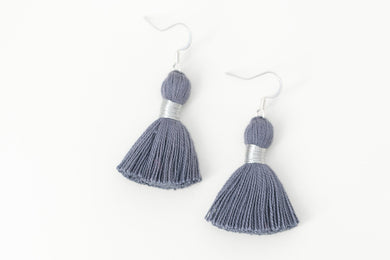 "THE MELISSA 1-1/4"" DENIM silver tassel earrings"