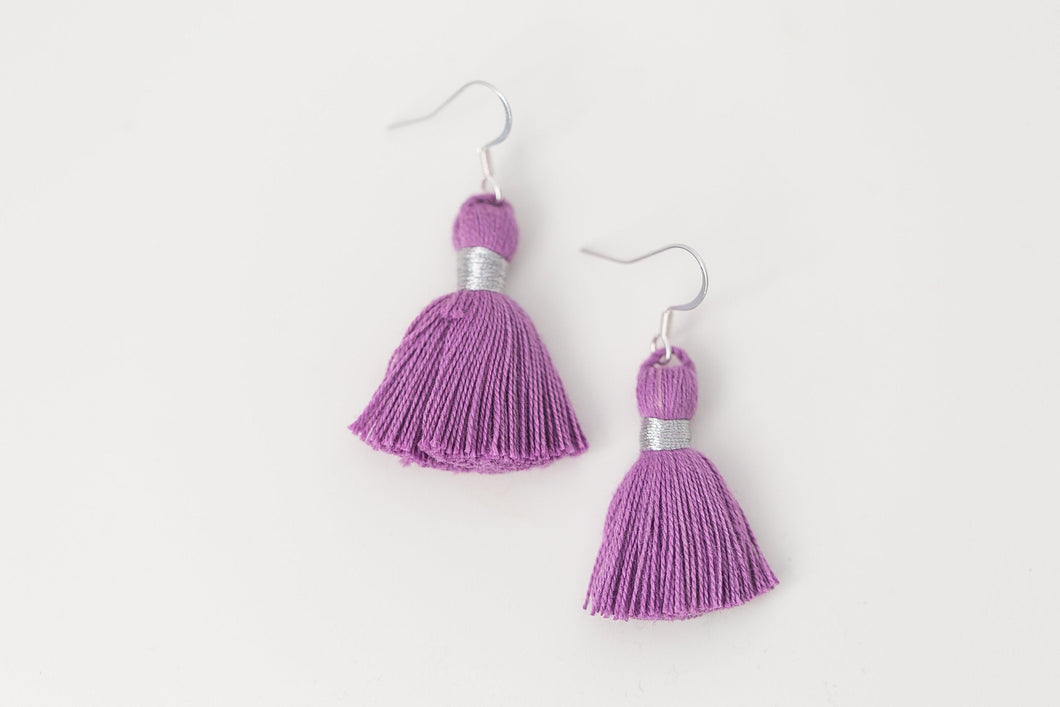 "THE KEEGAN 1-1/4"" silver purple tassel earrings"