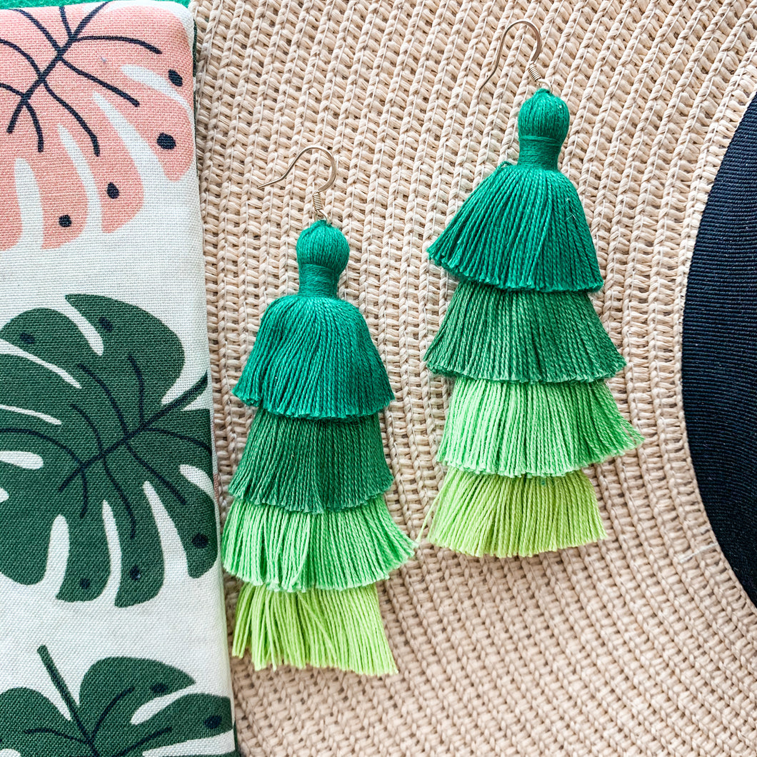 "THE MARIE 3"" GREEN OMBRÉ 4-tier tassel earrings"