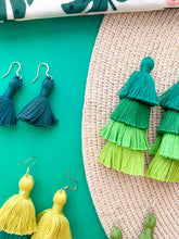 "Load image into Gallery viewer, THE RAE 2.75"" YELLOW, GREEN + PURPLE OMBRÉ 3-tier tassel earrings"