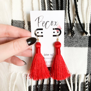 "THE LEIGH 2"" bright red silky tassel earrings"