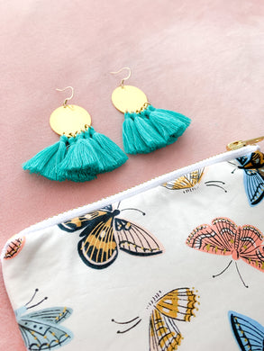 THE GRACE bright brass + turquoise tassel earrings