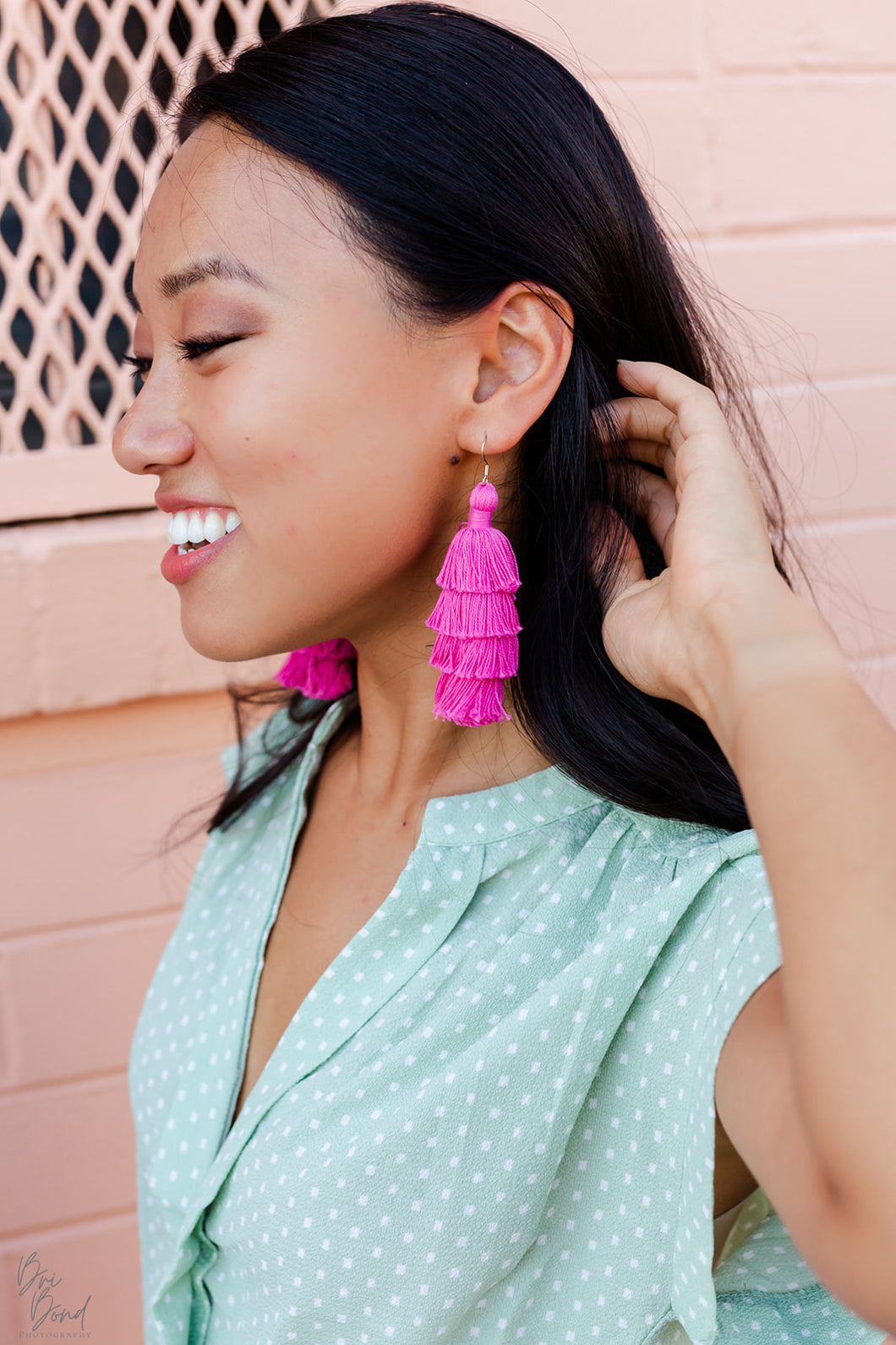 "THE EMILY 3"" pink tassel earrings"