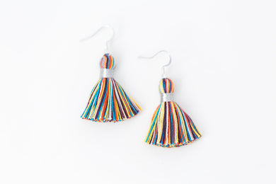 "THE BETSY 1-1/4"" silver multi-color tassel earrings"