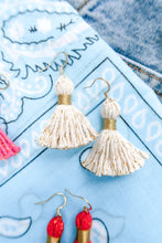"Load image into Gallery viewer, THE KELSEY 1-1/4"" WHITE cotton & gold tinsel tassel earrings"